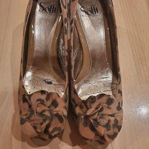 Sofft Cheetah Peep Toe Heels